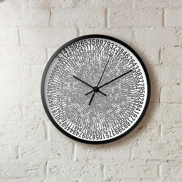 uchi Pi wall clock in white and black