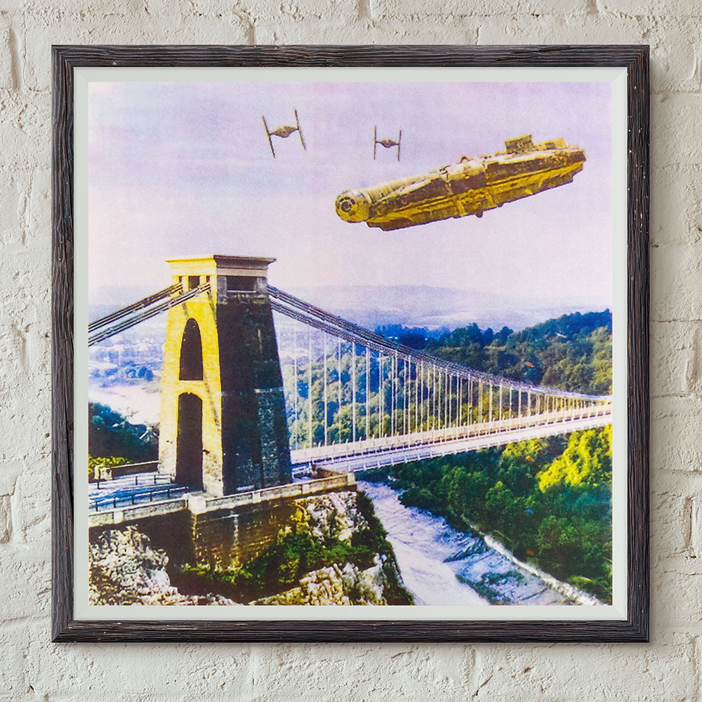 IX T shirts - Star Wars v Bristol episode I - screen print - Millennium Falcon Dog Fight Over Avon Gorge - framed