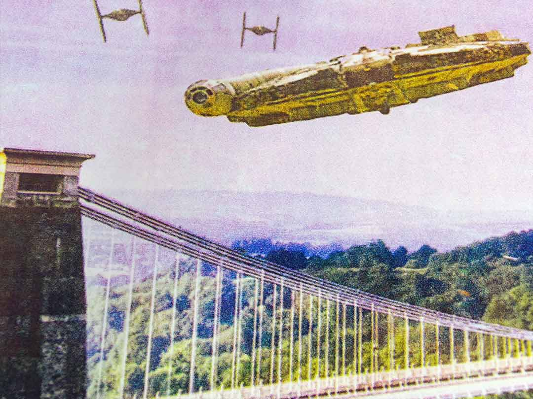 IX T shirts - Star Wars v Bristol episode I - screen print - Millennium Falcon Dog Fight Over Avon Gorge - detail