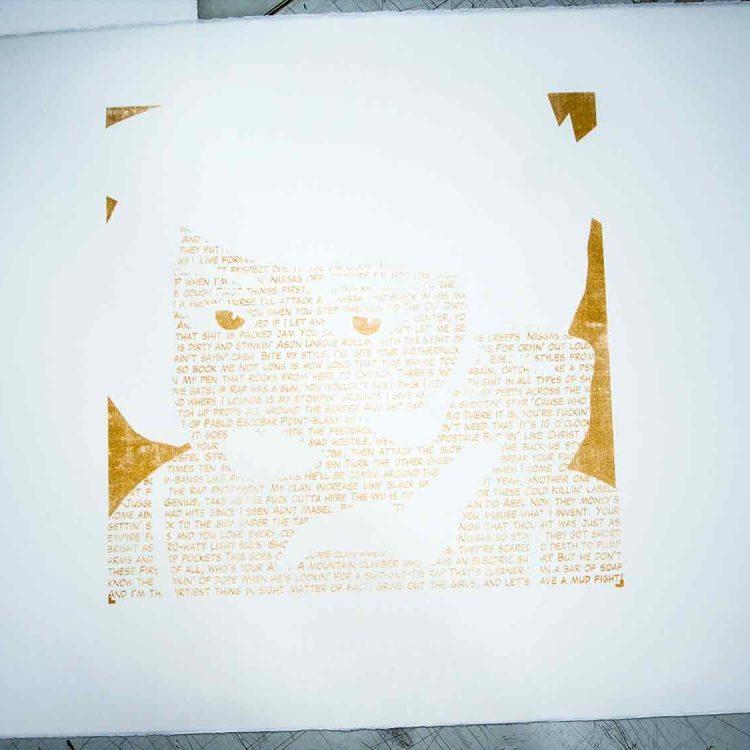"Screen printing ""Protect Ya Neck"" by uchi clothing"